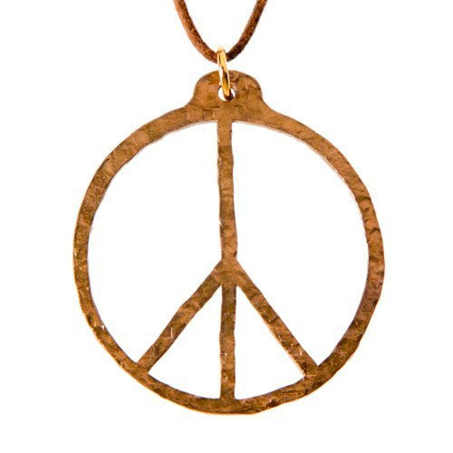 Hand Hammered Peace Symbol Peace Bronze Pendant Necklace On