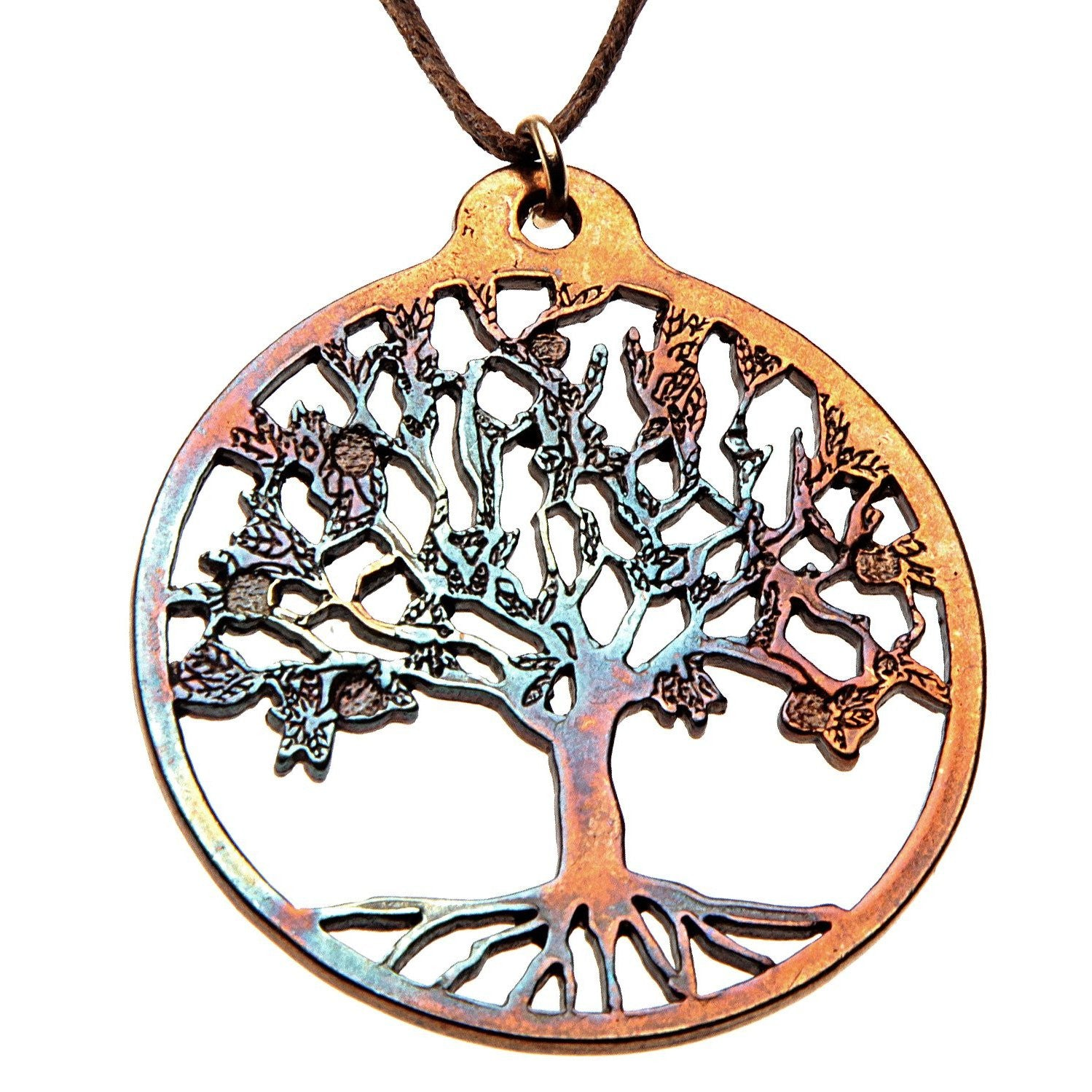 Tree of life ornament - Tree Of Life Iridescent Pendant Necklace On Adjustable Natural Fiber Cord