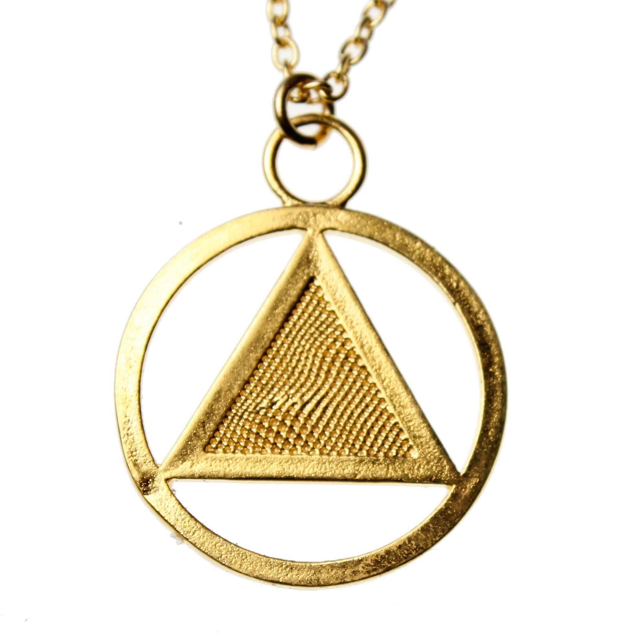 Aa Symbol Gold Dipped Pendant Necklace On 18 Rolo Chain From War