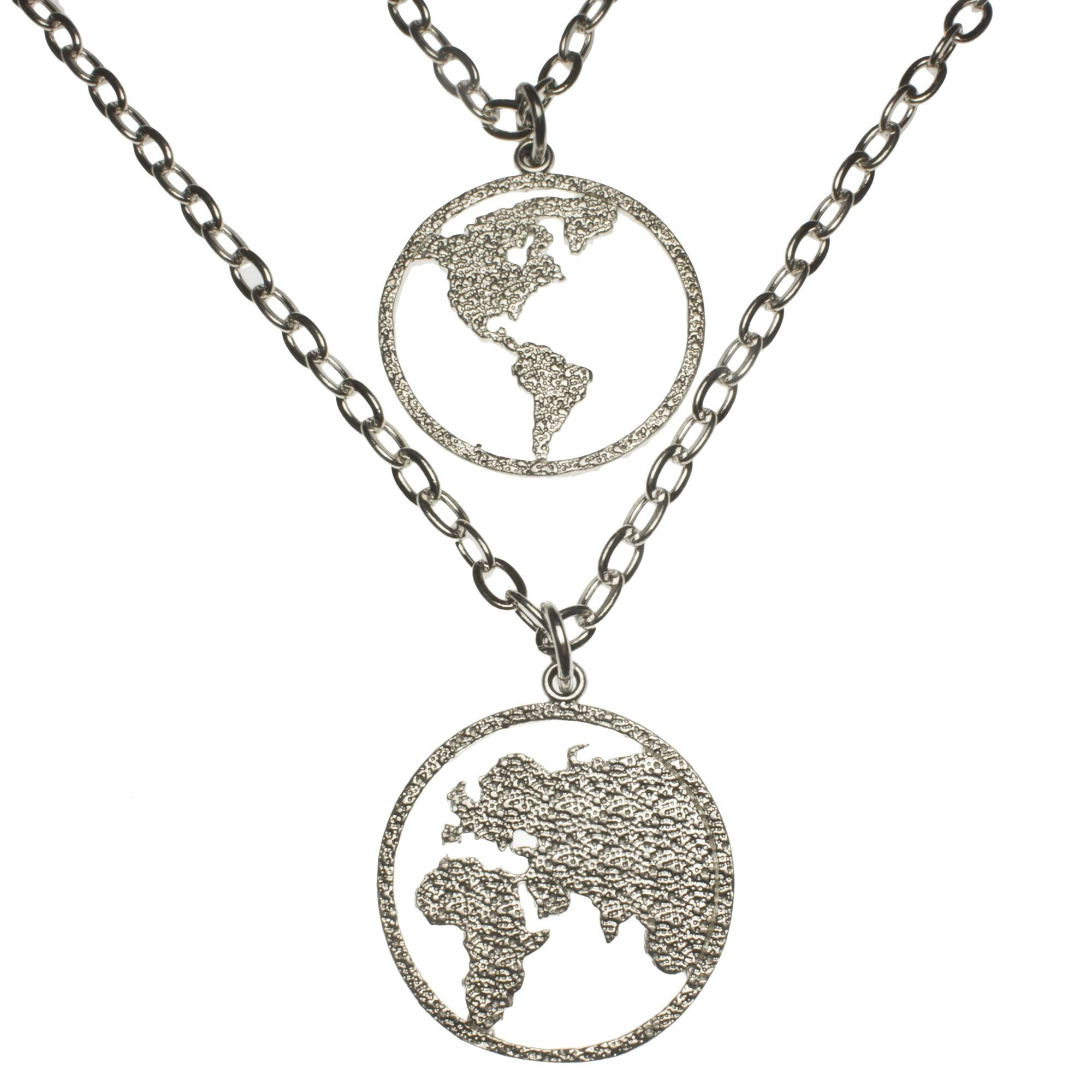 Peace on earth double hemisphere silver dipped necklace from war peace on earth double hemisphere silver dipped necklace aloadofball Image collections