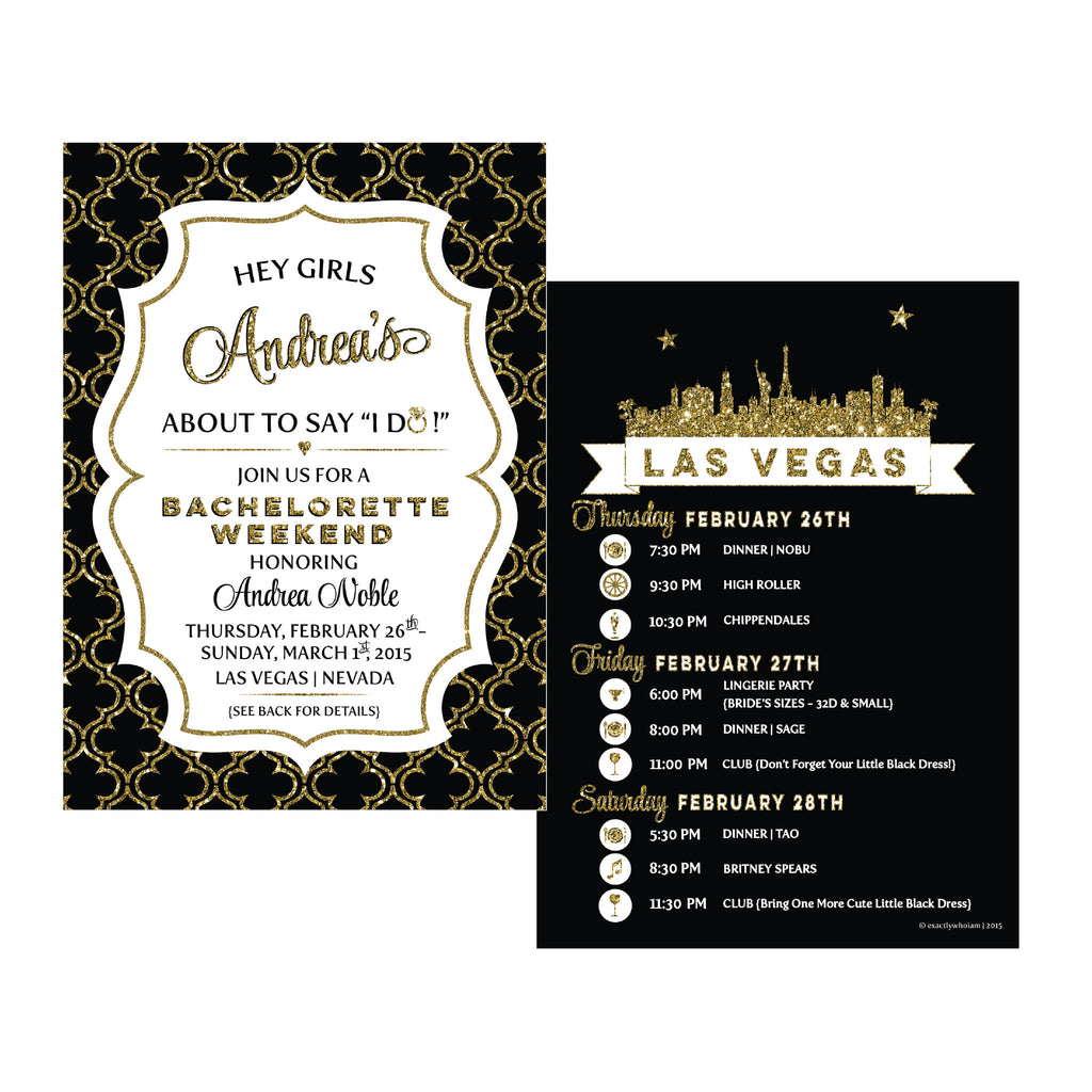 Las Vegas Bachelorette Weekend Party Invitations – Exactly Who I AM
