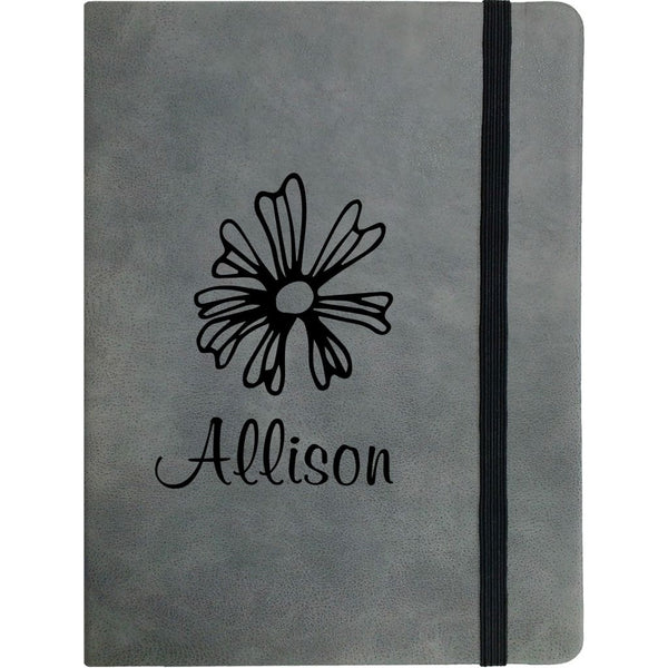 GREY FAUX LEATHER NOTEBOOK SMALL A6 - Engravable (ZAMH0017)