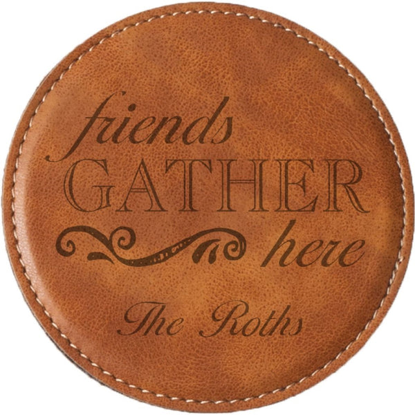 TAN FAUX LEATHER COASTER - Engravable (ZCOS0039)