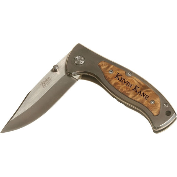 Engraveable wood pocket knife with clip