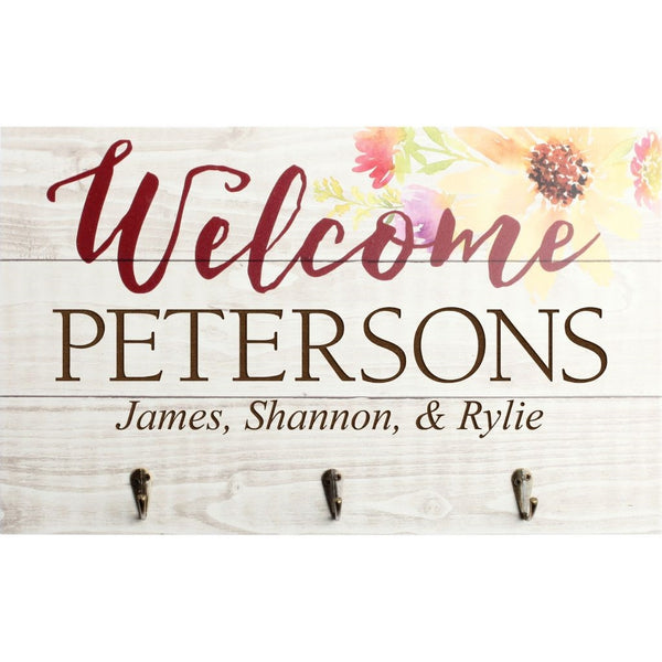 Welcome Plaque W/ Hooks - Engravable (ZPNH0002)