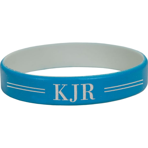 BLUE & GREY SILICONE WRISTBAND - Engravable (ZSCB01) - Southern Grace Creations