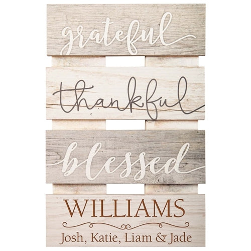 GRATEFUL, THANKFUL, BLESSED SIGN - Engravable (ZSKD0018)