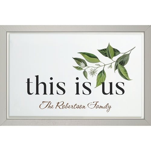 THIS IS US FRAMED SIGN WITH LEAVES (Engravable)