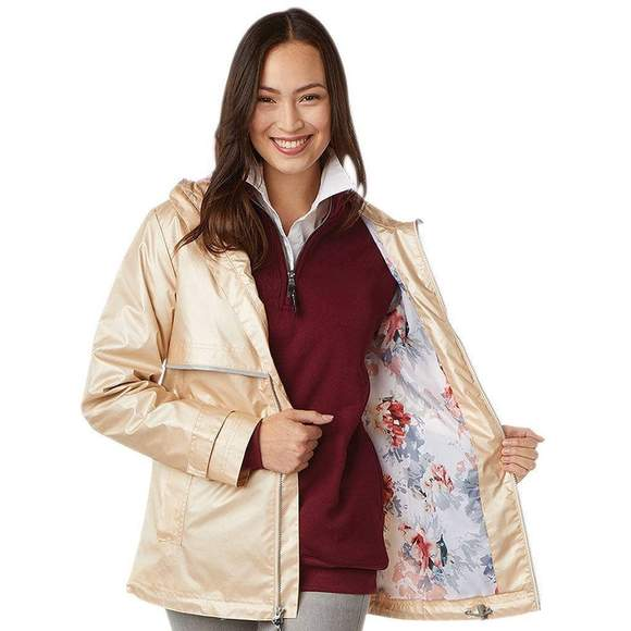 Charles River Champagne with Floral Printed Lining Rainjacket
