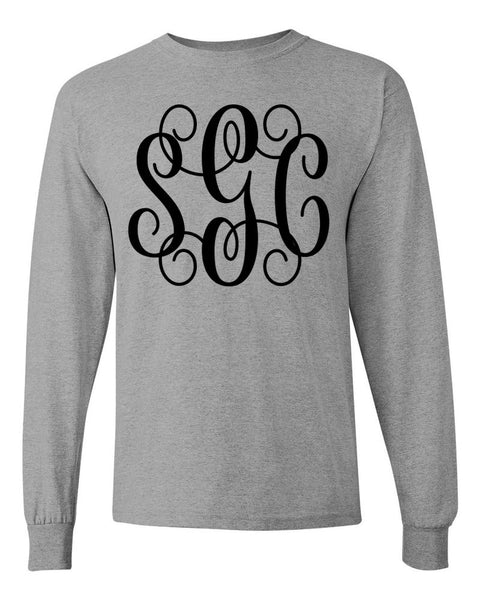 Long Sleeve Tee with Big Monogram - Southern Grace Creations