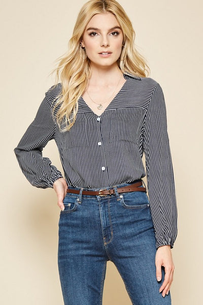Stripe Button Down Top - Navy