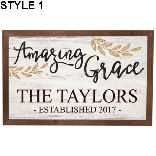 Amazing Grace Framed Sign - Engravable (ZVFR0062) - Southern Grace Creations