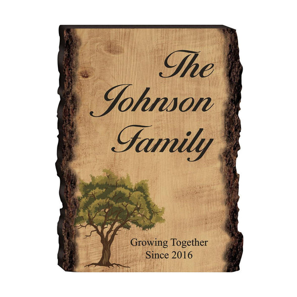 Faux Sliced Log Sign With Tree (Engravable)