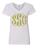 Monogram V-Neck Tee - Southern Grace Creations