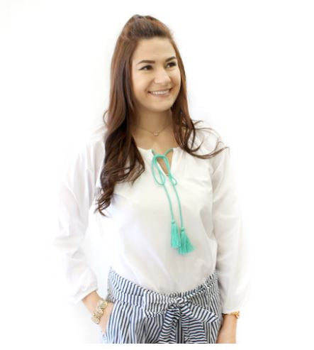 Clean Cotton blend summer blouse with notched neckline, finished with mint tassel ties.