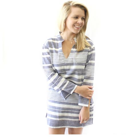 Cape Cod Tunic-Gray/White perfect  for casual lunch r cover up. - Southern Grace Creations
