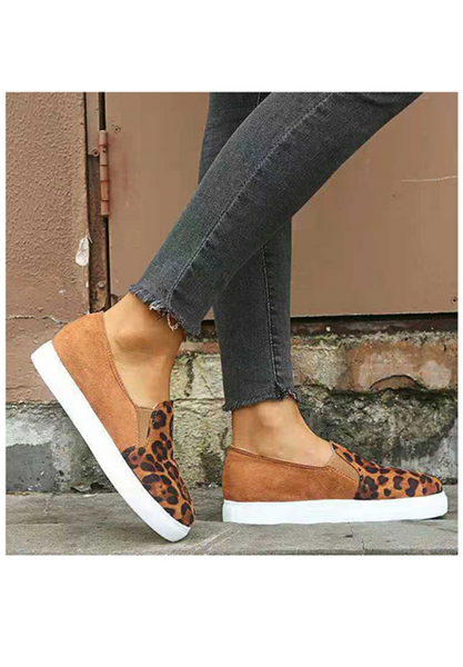 Brown Leopard Slip On Sneakers