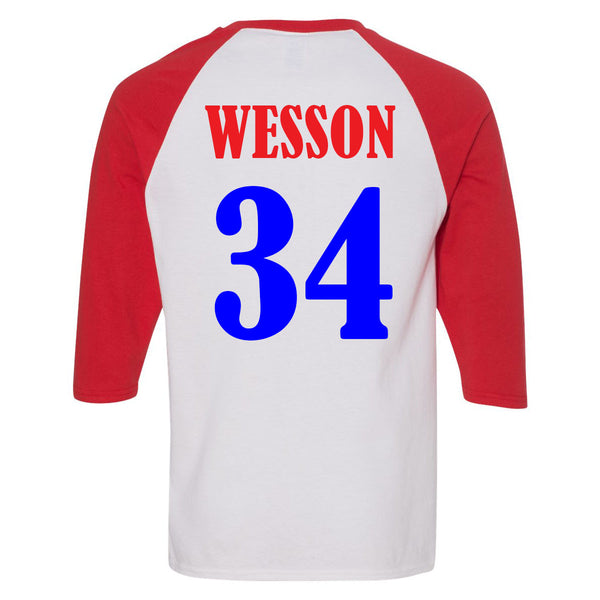 Baseball Mom Monogram - Red/White Raglan