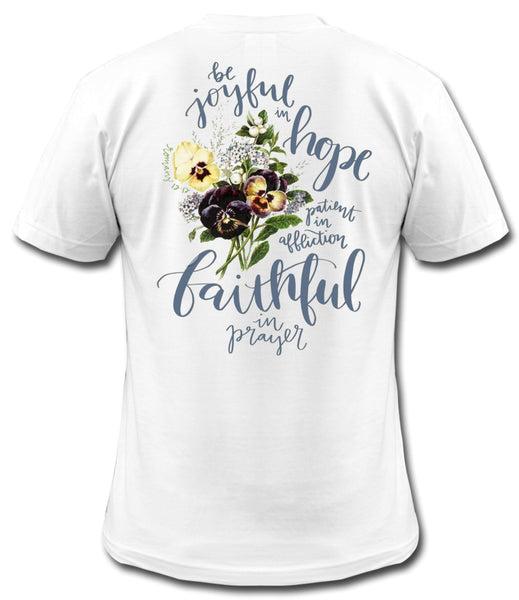 Be Joyful In Hope - Romans 12:12 - White Short Sleeve Tee - Southern Grace Creations
