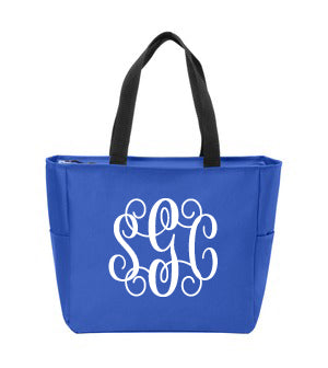 Essential Open Tote with Embroidered Monogram - Southern Grace Creations