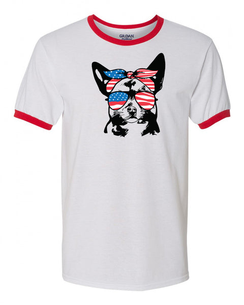 Chihuahua with American Flag Bandana & Glasses Tee fourth of july memorial day labor day