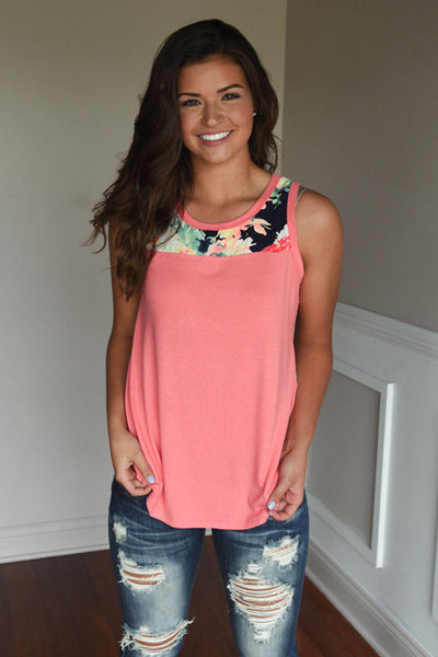 Floral Tank - Coral
