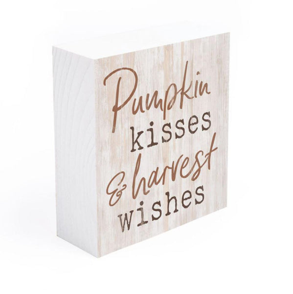 Pumpkin Kisses & Harvest Wishes Word Block