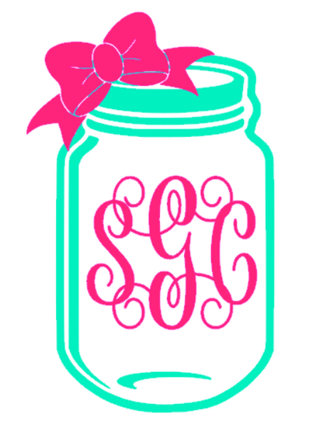 Mason Jar Monogram Decal - Southern Grace Creations