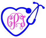 Stethoscope Monogram Decal - Southern Grace Creations