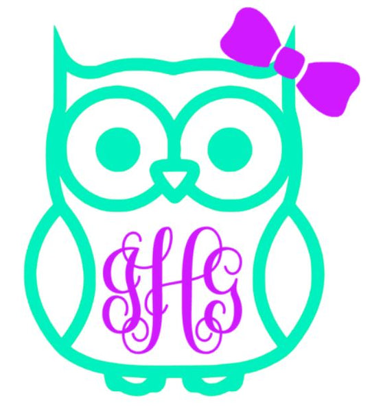Owl Monogram Decal - Southern Grace Creations