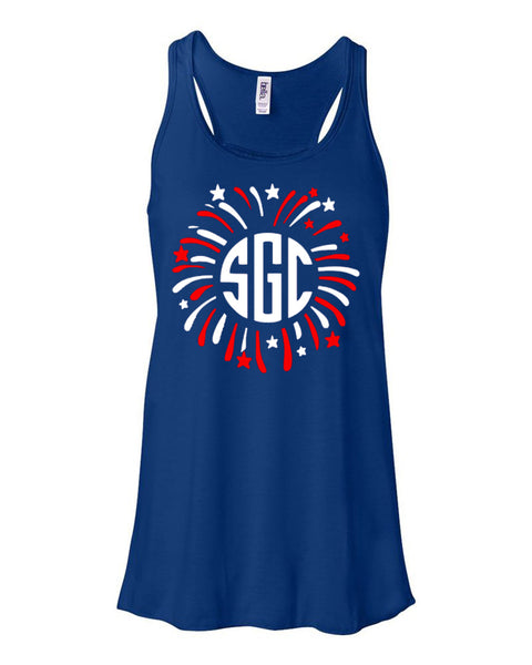 FIREWORKS MONOGRAM SHIRT - Southern Grace Creations