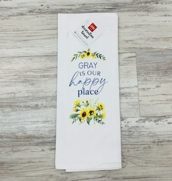 TEA TOWEL - GRAY IS OUR HAPPY PLACE