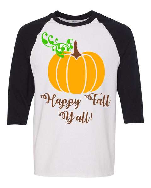 Happy Fall Y'all Raglan - Southern Grace Creations