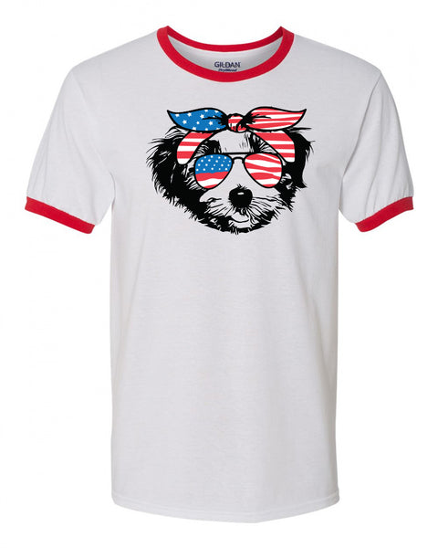 Havanese with Flag Bandana & Glasses Tee