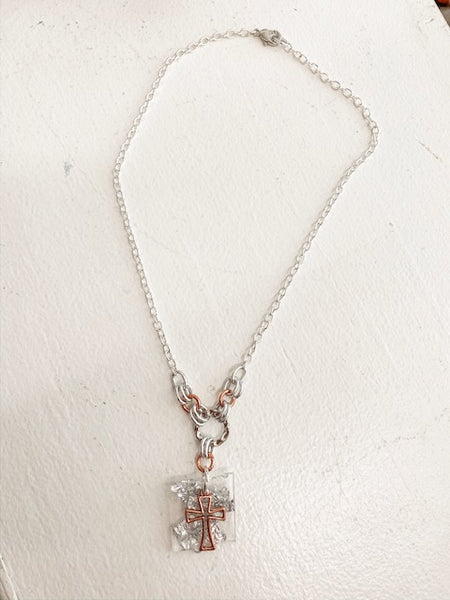 Cross Chain Necklace in Rose Gold/Silver
