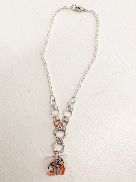 Joshua 1:9 Chain Necklace - Silver/Rose Gold