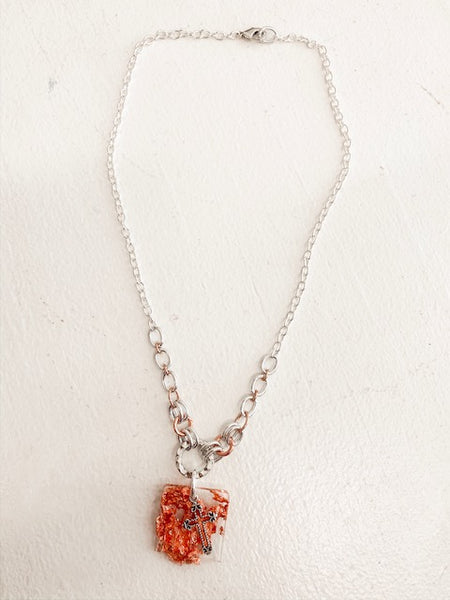 Cross Necklace in Silver/Rose Gold