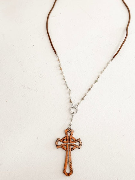 Wooden Cross Necklace - Brown/Mint