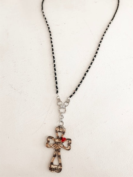Cross with Rose Necklace