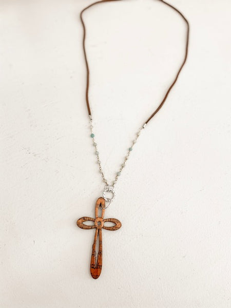 Wood Hymn Cross Necklace