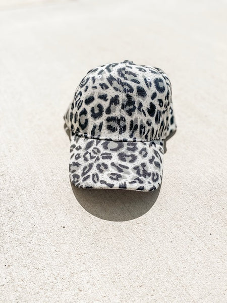 Leopard Hat - White