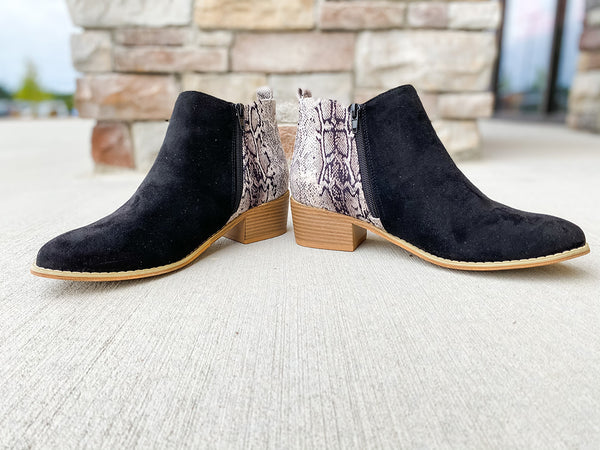 Snakeskin Port Booties