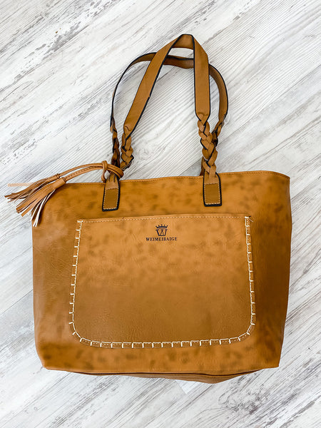 Light Brown Tassel Purse