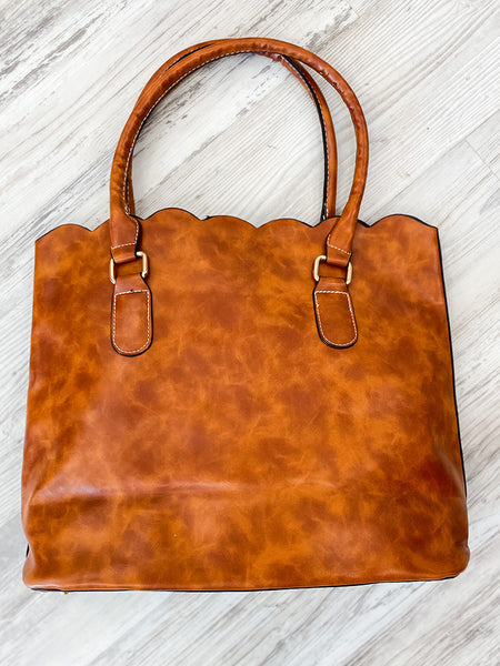 Brown Scalloped Purse