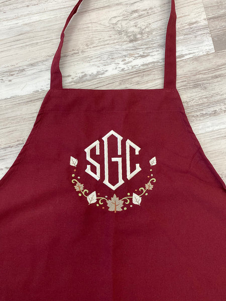 Most Grateful! Most Thankful! Most Blessed! Embroidered / Monogrammed Fall Apron