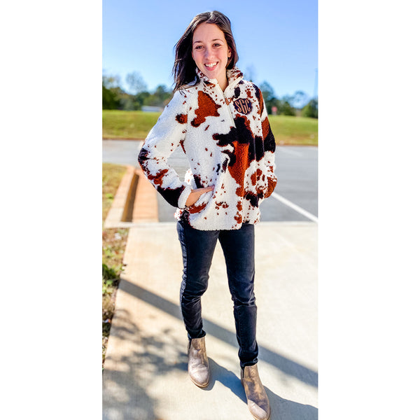 Moo Moo Here Moo Moo There - Cow Print Sherpa - Youth