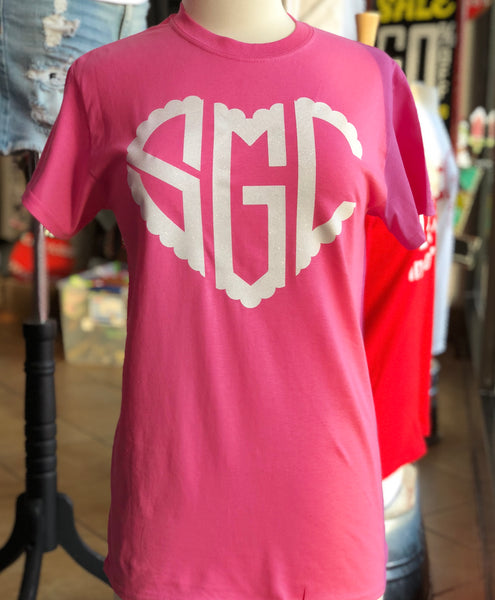 Scalloped Monogram Heart - Pink Short Sleeve Tee - Southern Grace Creations
