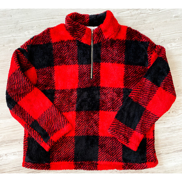 Buffalo Plaid Fleece Sherpa - RED