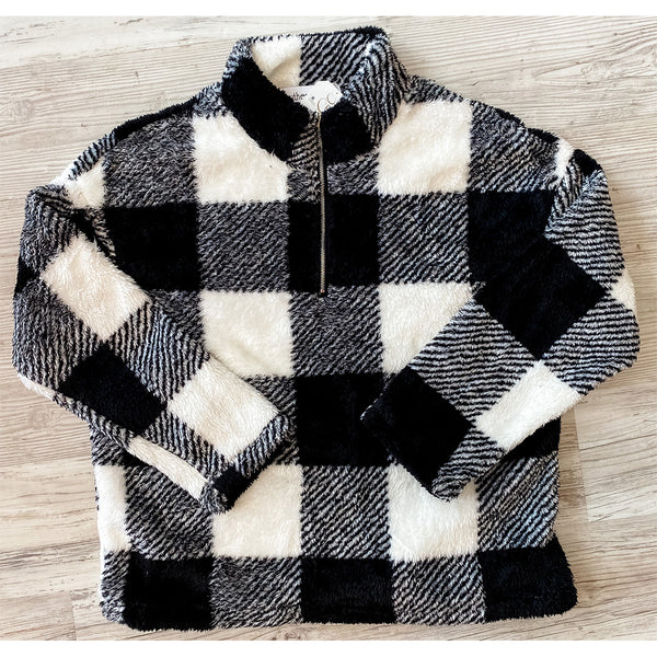 Buffalo Plaid Fleece Sherpa - WHITE