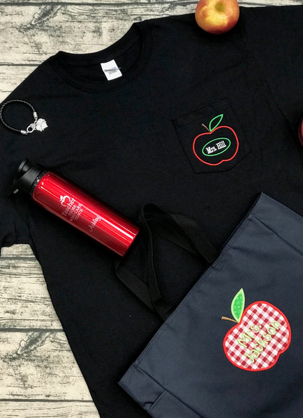 Teacher Apple Pocket Tee With Name